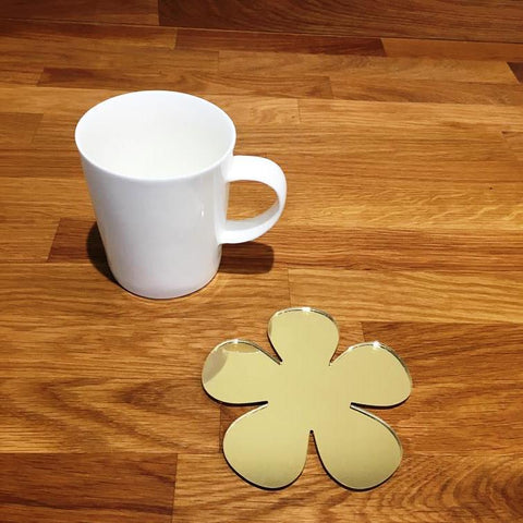 Daisy Shaped Coaster Set - Gold Mirror