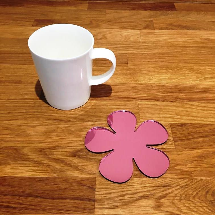 Daisy Shaped Coaster Set - Pink Mirror