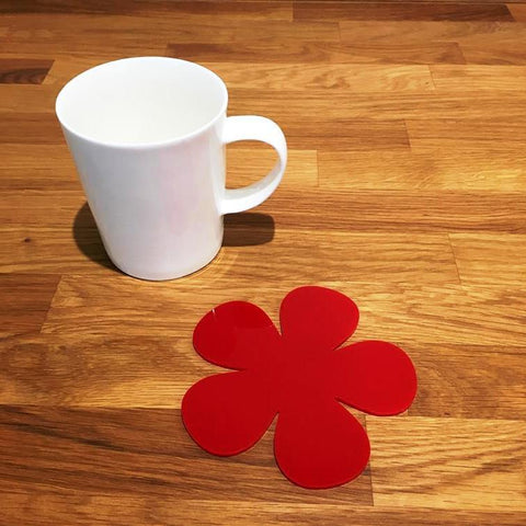 Daisy Shaped Coaster Set - Red