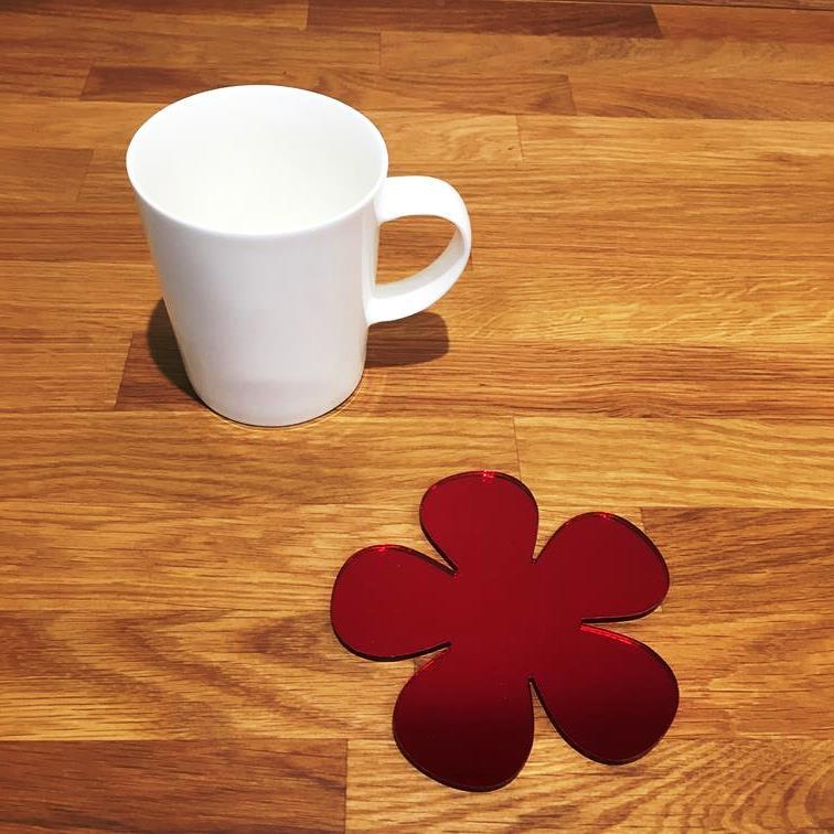 Daisy Shaped Coaster Set - Red Mirror