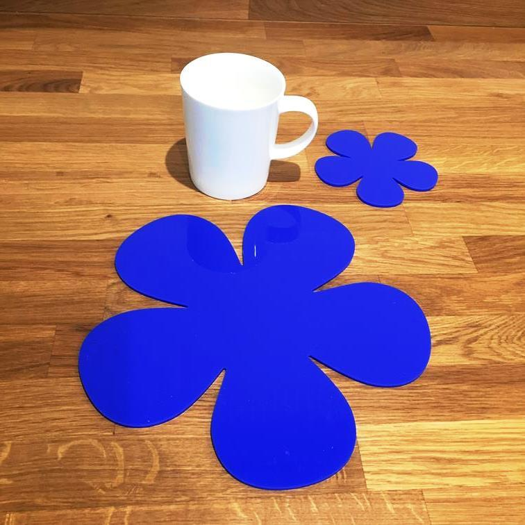 Daisy Shaped Placemat and Coaster Set - Blue