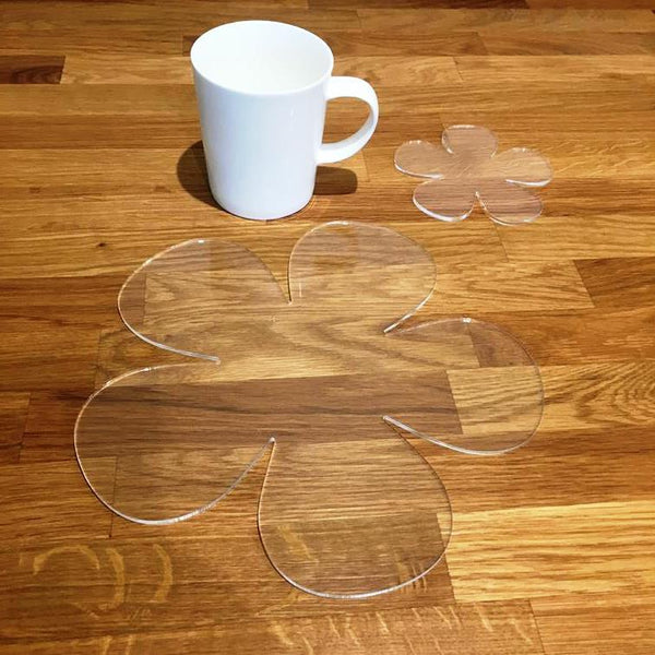 Daisy Shaped Placemat and Coaster Set - Clear