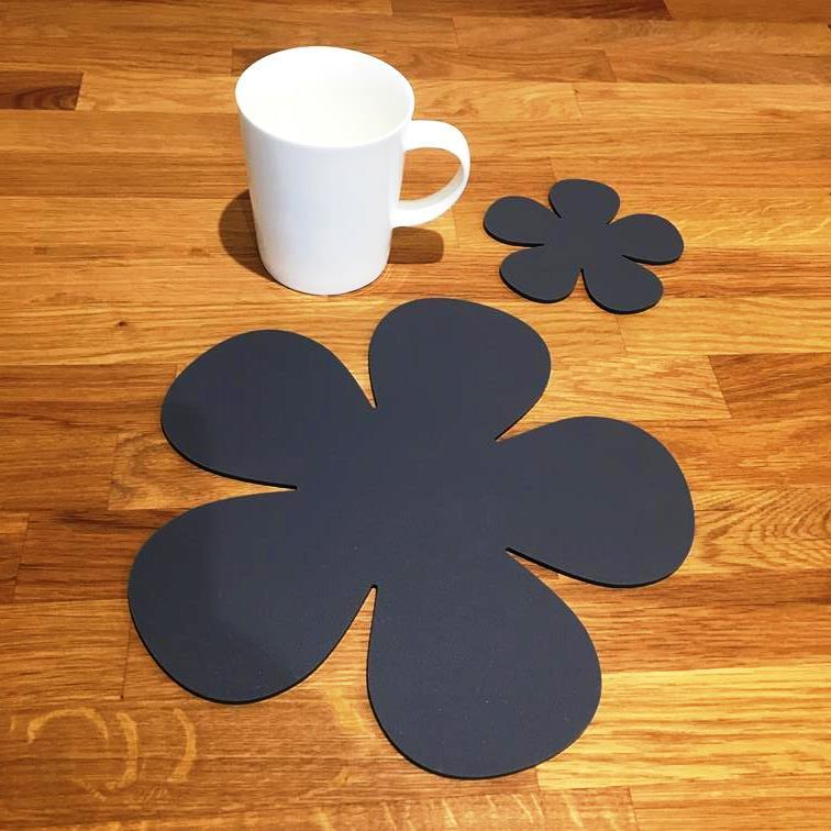 Daisy Shaped Placemat and Coaster Set - Graphite Grey
