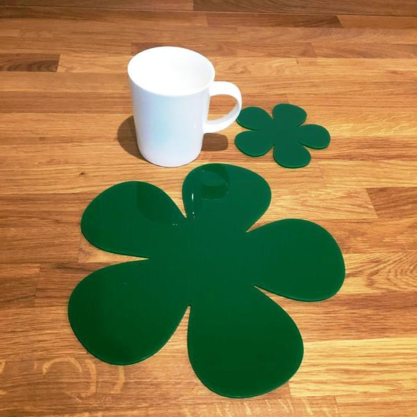 Daisy Shaped Placemat and Coaster Set - Green