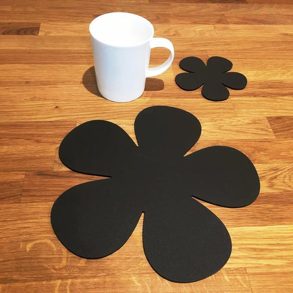 Daisy Shaped Placemat and Coaster Set - Mocha Brown