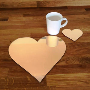 Heart Shaped Placemat and Coaster Set - Gold Mirror