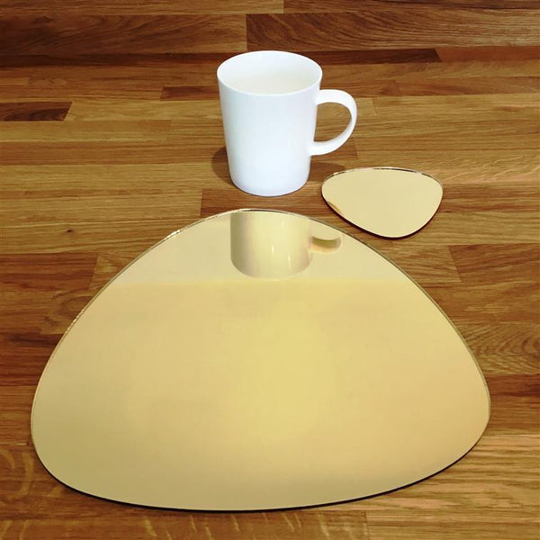 Pebble Shaped Placemat and Coaster Set - Gold Mirror