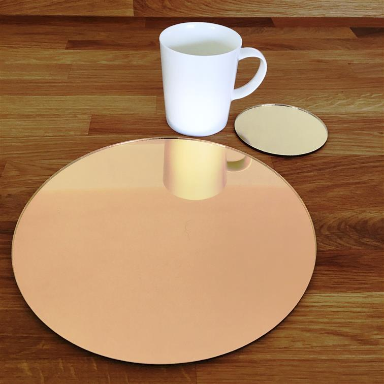 Round Placemat and Coaster Set - Gold Mirror
