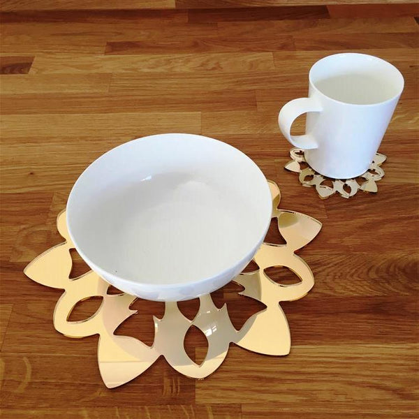 Snowflake Shaped Placemat and Coaster Set - Gold Mirror