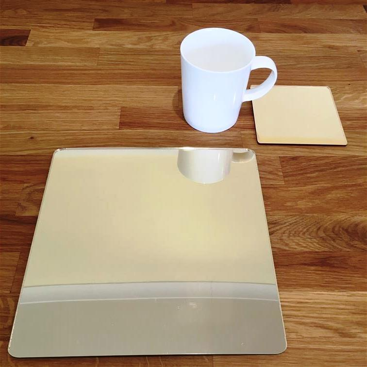 Square Placemat and Coaster Set - Gold Mirror