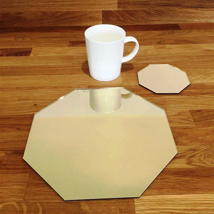 Octagonal Placemat and Coaster Set - Gold Mirror