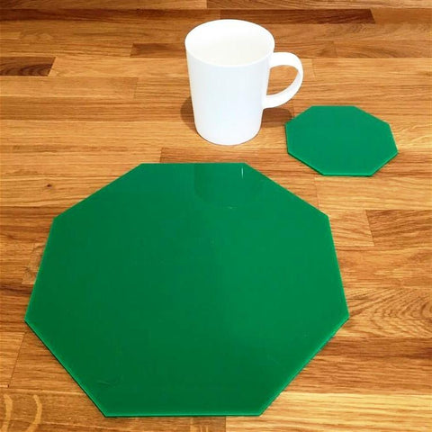 Octagonal Placemat and Coaster Set - Green