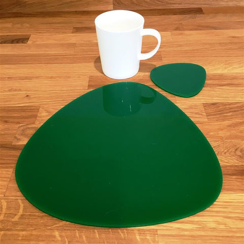 Pebble Shaped Placemat and Coaster Set - Green