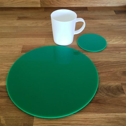 Round Placemat and Coaster Set - Green