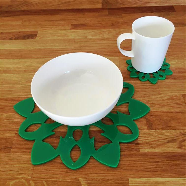 Snowflake Shaped Placemat and Coaster Set - Green