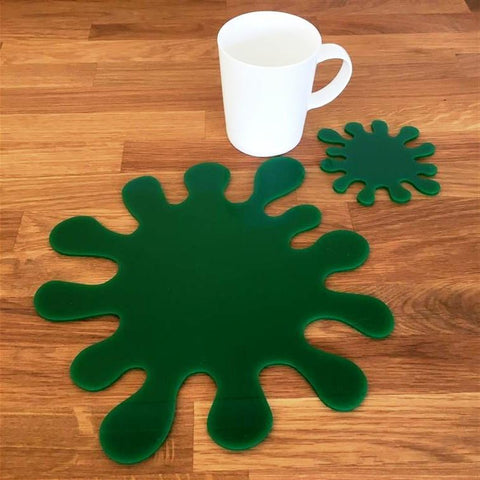 Splash Shaped Placemat and Coaster Set - Green