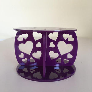 Heart Design Round Wedding/Party Cake Separator - Purple
