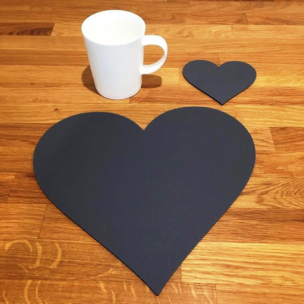 Heart Shaped Placemat and Coaster Set - Graphite Grey