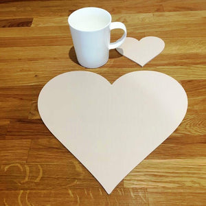 Heart Shaped Placemat and Coaster Set - Latte