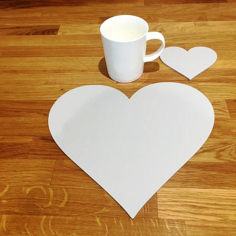 Heart Shaped Placemat and Coaster Set - Light Grey