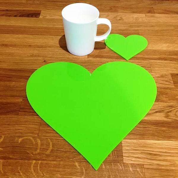 Heart Shaped Placemat and Coaster Set - Lime Green