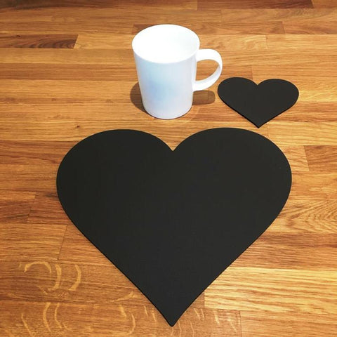 Heart Shaped Placemat and Coaster Set - Mocha Brown