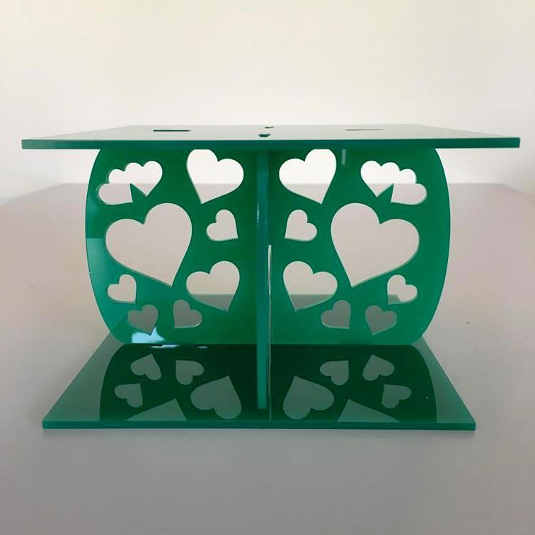 Heart Design Square Wedding/Party Cake Separator - Green