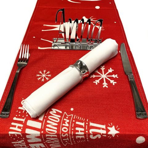 Merry Christmas Table Runner - Red & White
