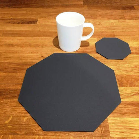 Octagonal Placemat and Coaster Set - Graphite Grey