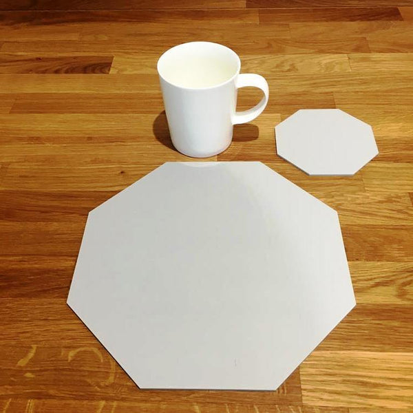 Octagonal Placemat and Coaster Set - Light Grey