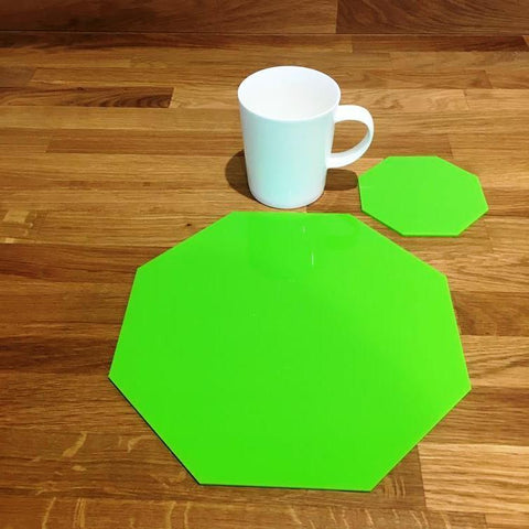 Octagonal Placemat and Coaster Set - Lime Green