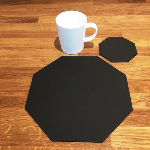 Octagonal Placemat and Coaster Set - Mocha Brown