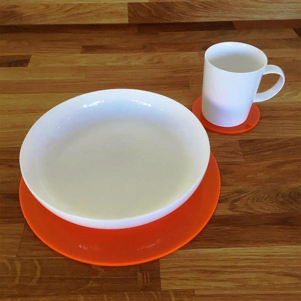 Round Placemat and Coaster Set - Orange