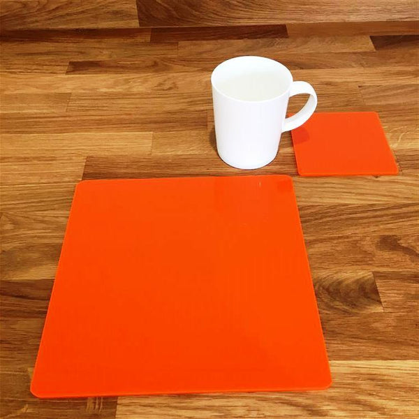 Square Placemat and Coaster Set - Orange
