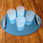 Oval Serving Tray with Handle - Blue Mirror