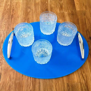 Oval Serving Tray with Handle - Bright Blue