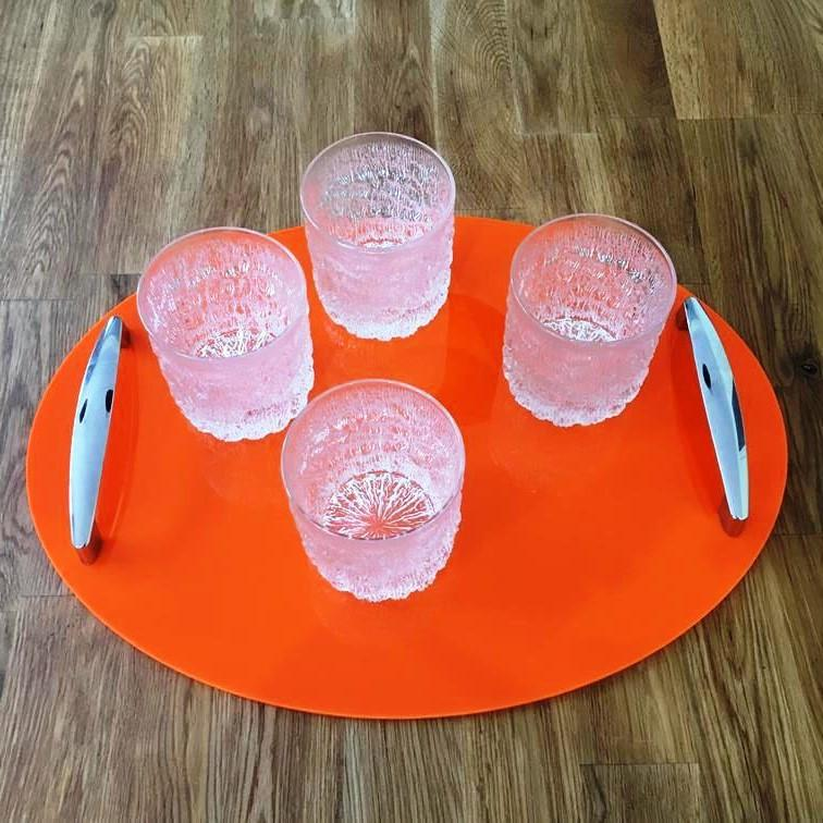 Oval Serving Tray with Handle - Orange