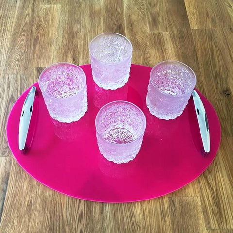 Oval Serving Tray with Handle - Pink