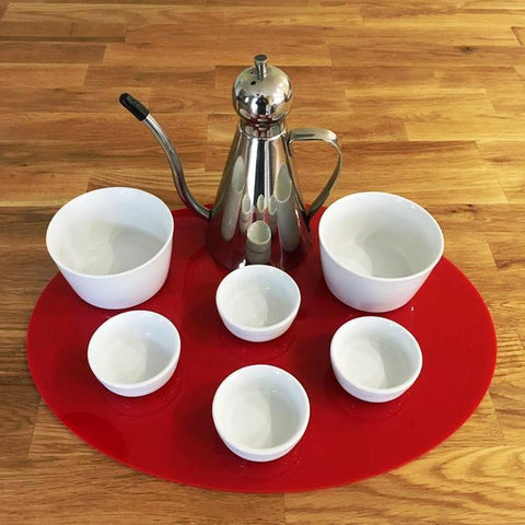 Oval Serving Mat/Table Protector - Red Gloss