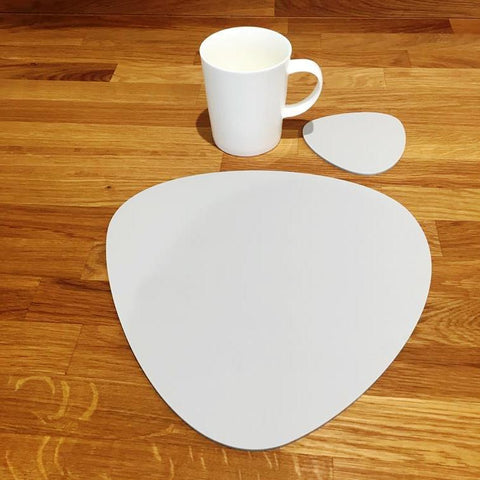 Pebble Shaped Placemat and Coaster Set - Light Grey