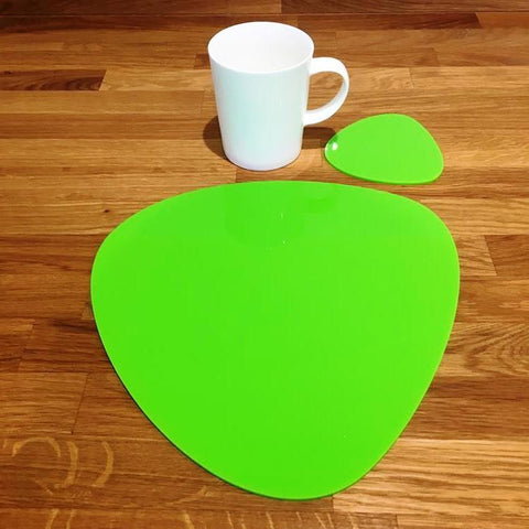 Pebble Shaped Placemat and Coaster Set - Lime Green