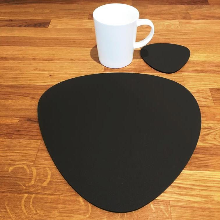Pebble Shaped Placemat and Coaster Set - Mocha Brown