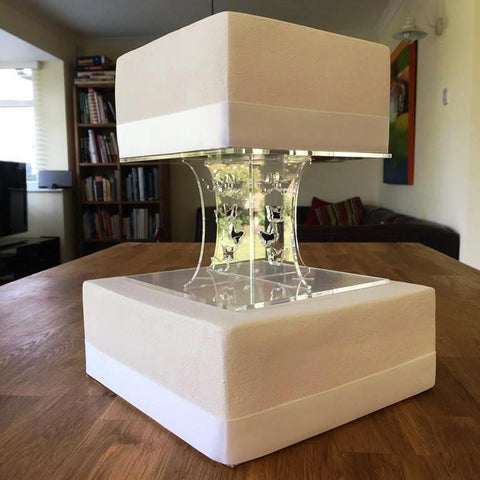 Cake Pillars Square Butterfly - Clear