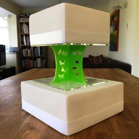 Cake Pillars Square Butterfly - Lime Green