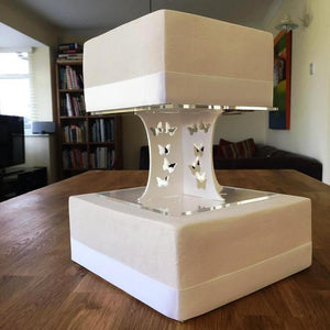 Cake Pillars Square Butterfly - White