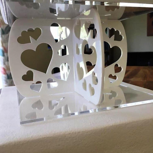 Cake Pillars Square Heart - White