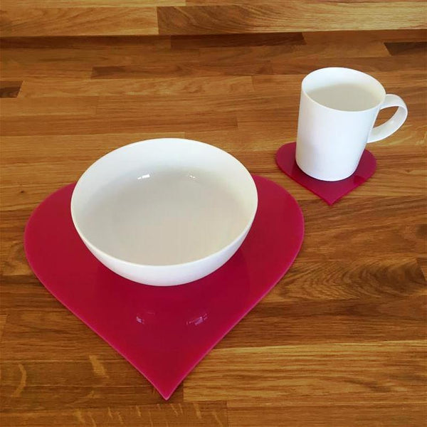 Heart Shaped Placemat and Coaster Set - Pink