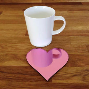 Heart Shaped Coaster Set - Pink Mirror