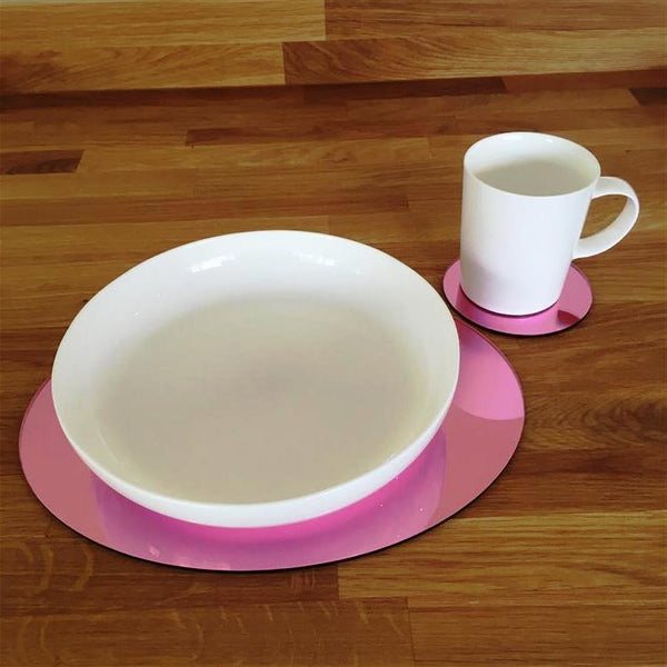 Oval Placemat and Coaster Set - Pink Mirror