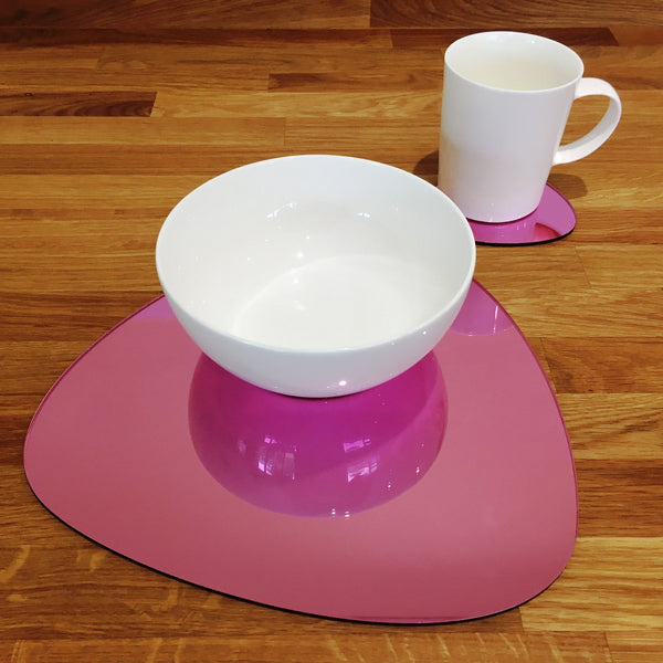 Pebble Shaped Placemat and Coaster Set - Pink Mirror